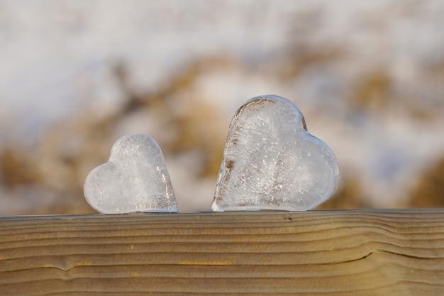 Primo piano ai cuori di ghiaccio nel paesaggio invernale