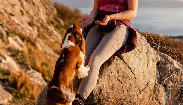 Chiuda in su escursionista con il cane in natura