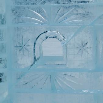 Primo piano della parete del castello del ghiaccio, lake louise, alberta, canada