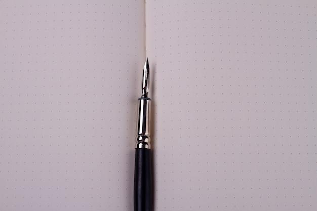Penna a inchiostro del primo piano sul quaderno vuoto.