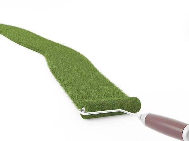 Chiuda in su sull'erba del rullo dell'inchiostro isolata