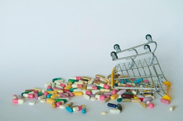 Il primo piano di un carrello di acquisto invertito ha riempito di pillole variopinte. carrello dal supermercato con diverse medicine.
