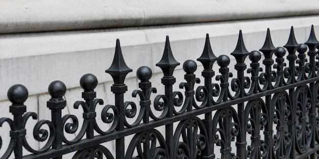 Primo piano della recinzione di ferro manhattan, new york city, stato di new york, usa