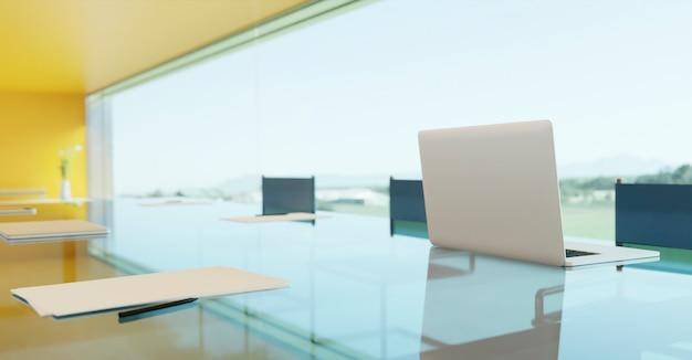 Primo piano di laptop, notebook, foglio di carta sul tavolo da conferenza di vetro. messa a fuoco selezionata. rendering 3d.