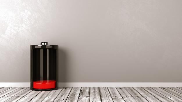Primo piano sulla batteria a bassa potenza sul pavimento di legno