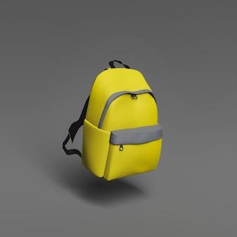 Primo piano della scena minimalista di una borsa da scuola sospesa in aria. colore dell'anno 2021. torna a scuola. rendering 3d