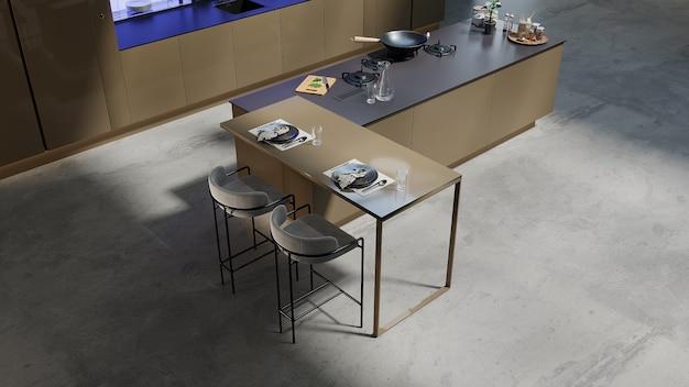 Primo piano in cucina in stile moderno con design soggiorno, rendering 3d