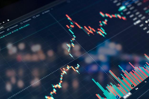 Uno schermo monitor ravvicinato con grafico del grafico azionario, diagramma di crescita finanziaria