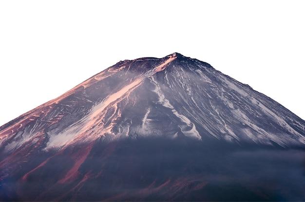 Primo piano monte fuji con coperta di neve e luce solare