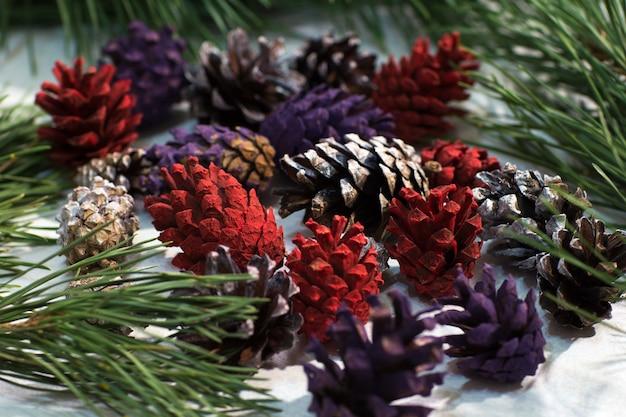 Primo piano di natura decorazione invernale. strobila colorate con pino su sfondo bianco.