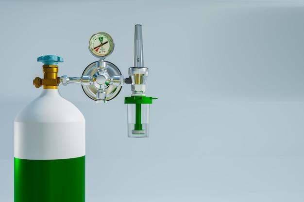 Chiudere il serbatoio di ossigeno per la terapia polmonare di primo soccorso, rendering dell'illustrazione 3d