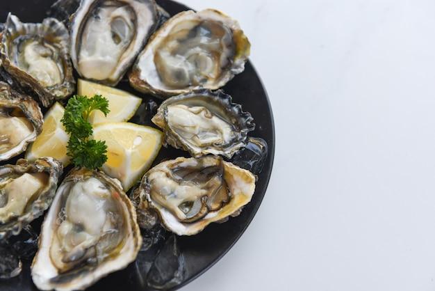 Chiuda su delle coperture di ostrica con il limone e il ghiaccio delle spezie dell'erba - cena di ostrica cruda fresca nei frutti di mare del ristorante