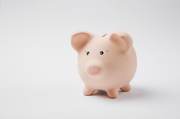 Close up foto di rosa rosa salvadanaio salvadanaio isolato sul muro bianco sullo sfondo. accumulo di denaro, investimenti, servizi bancari o aziendali, concetto di ricchezza. copia spazio pubblicitario mock up.