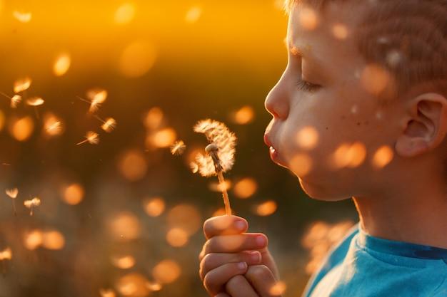 Ritratto ravvicinato di un ragazzino che soffia un dente di leone sul tramonto estivo