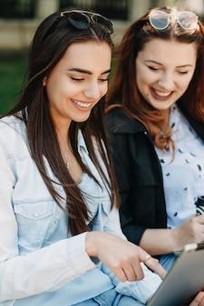 Close up ritratto di una bella bruna che punta sullo schermo di un laptop sorridente mentre è seduto su una spiaggia con la sua ragazza fuori nel parco.