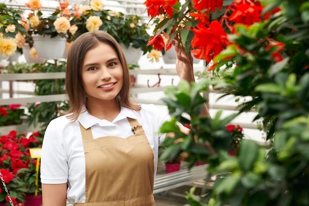 Chiuda sul ritratto di donna attraente sorridente in grembiule beige in piedi vicino a bellissimi fiori di colori diversi. concetto di godersi e prendersi cura dei fiori con buon umore in una grande serra.