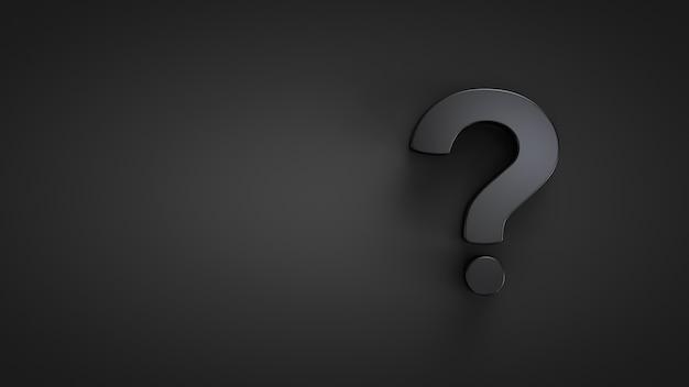 Primo piano punto interrogativo. tema scuro. argomenti interrogativi.