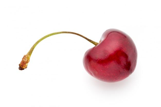 Primo piano di una ciliegia rossa e matura