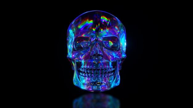 Primo piano sulla forma riflettente del cranio umano