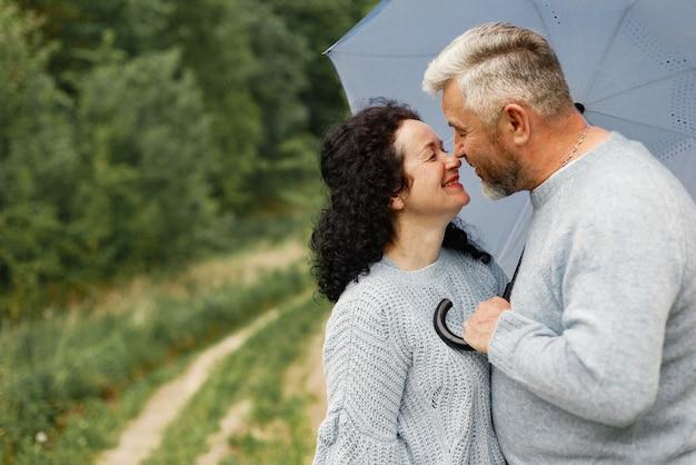 Chiuda sulle coppie romantiche che si baciano in un parco autunnale. uomo e donna che indossano maglioni blu. la donna è bruna e l'uomo è grigio.