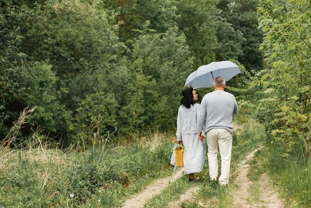 Chiuda sulle coppie romantiche che camminano in un parco di autunno. uomo e donna che indossano maglioni blu. uomo che tiene un ombrello.