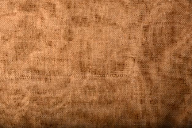 Primo piano su sfondo texture tela di sacco