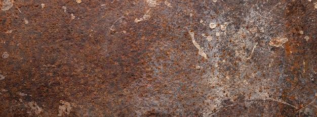 Immagine ravvicinata di una vecchia struttura di superficie della piastra metallica arrugginita sporca per sfondo banner