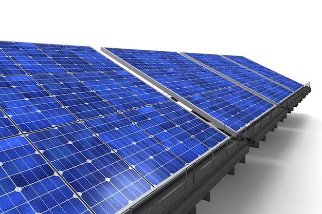 Inquadratura ravvicinata di una fila di pannelli solari blu contro una superficie bianca
