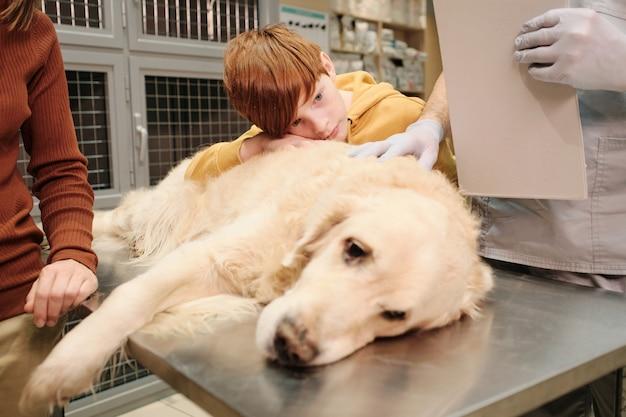 Primo piano del cane malato sdraiato sul tavolo con i proprietari e il medico in piedi intorno a lei e che esaminano presso la clinica veterinaria