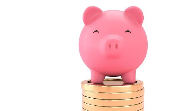 Close up di un sorriso salvadanaio rosa sulla moneta d'oro su sfondo bianco. risparmio di denaro ed economia concept.3d render. isolato.