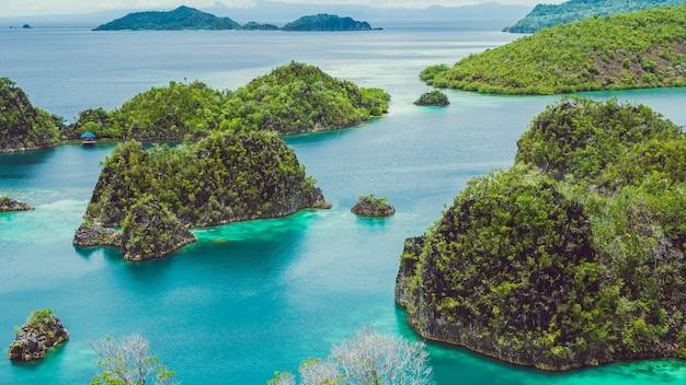 In prossimità di alcuni rock island in painemo, raja ampat, papua occidentale, in indonesia.