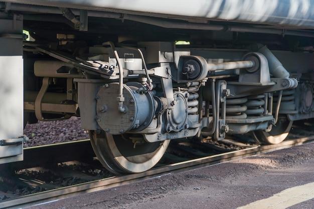 Primo piano della ruota del treno sulla ferrovia
