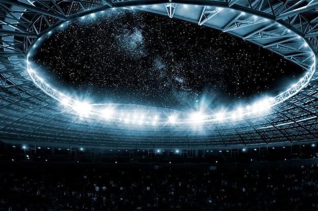 Primo piano di un vasto palazzetto dello sport illuminato