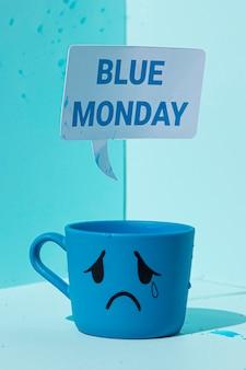Vista ravvicinata del concetto di lunedì blu
