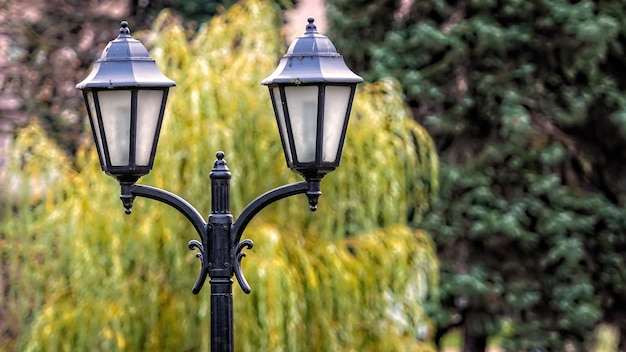 Vista ravvicinata sulla vecchia lanterna decorativa su un parco sfocato