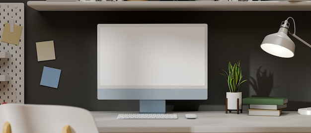 Vista ravvicinata dell'area di lavoro minima moderna con rendering 3d di mockup di computer desktop baby blue