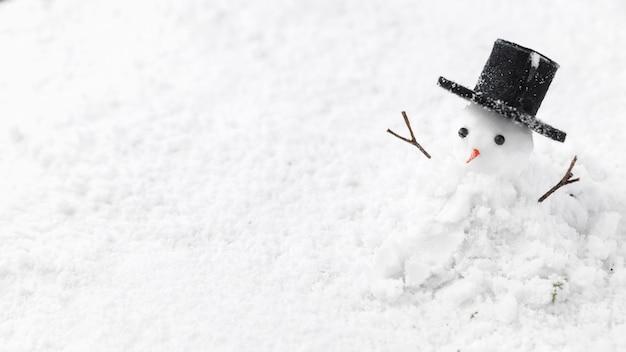 Vista ravvicinata del concetto di pupazzo di neve