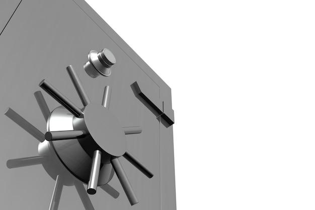 Vista ravvicinata di una cassaforte in acciaio isolata su bianco