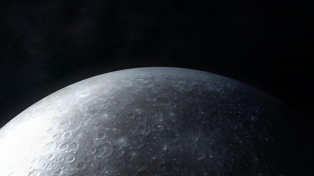 Vista ravvicinata della superficie della luna nei colori grigio scuro.