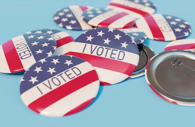 Vista ravvicinata dei distintivi delle elezioni americane