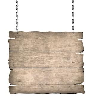 Primo piano di un cartello in legno con catena su bianco