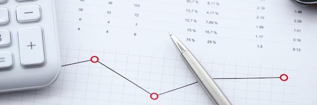 Primo piano del posto di lavoro con grafici e diagrammi commerciali. analisi dei dati e calcolatrice sul tavolo. risultati e ricavi delle spese aziendali. scartoffie e concetto di ufficio