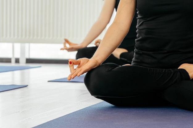 Chiuda in su delle donne di yoga che si siedono in asana del loto durante la lezione di yoga, vista ritagliata