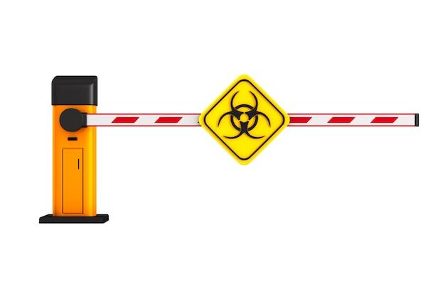 Barriera automatica chiusa con simbolo di rischio biologico su bianco.