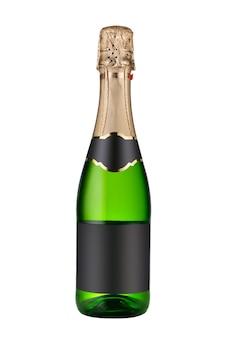 Bottiglia chiusa di vino champagne con etichette vuote