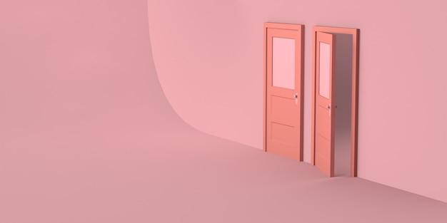 Porta chiusa e porta aperta su sfondo rosa. copia spazio. illustrazione 3d.