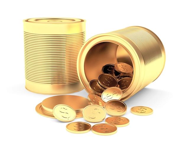 Lattine d'oro chiuse e aperte con monete rovesciate