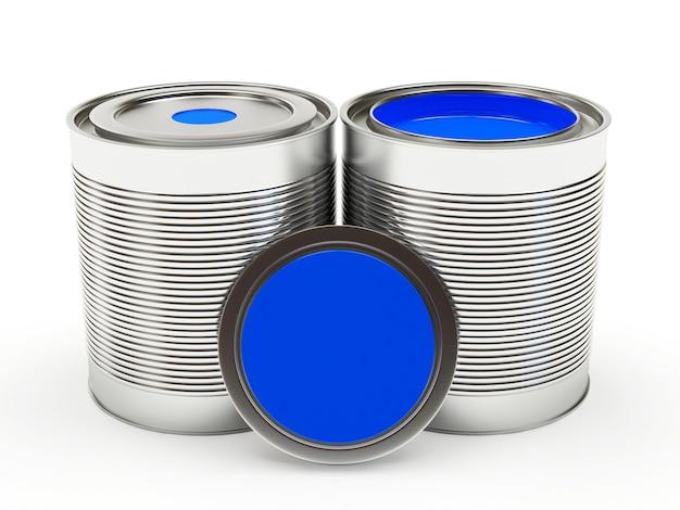 Barattoli di metallo chiusi e aperti di vernice blu