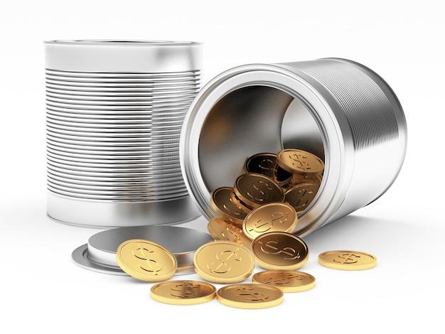 Lattine di metallo chiuse e aperte con monete rovesciate