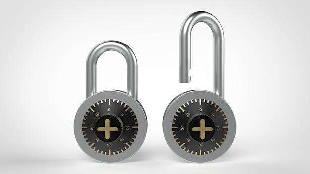 Lucchetti chiusi e aperti con serratura a combinazione nera